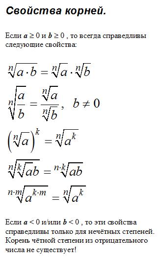 свойства квадратного корня